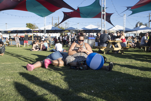 Attendees rest during the fourth annual Life is Beautiful music and art festival in downtown Las Vegas on Friday, Sept. 23, 2016. Loren Townsley/Las Vegas Review-Journal Follow @lorentownsley