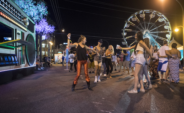 Attendees dance during the fourth annual Life is Beautiful music and art festival in downtown Las Vegas on Friday, Sept. 23, 2016.Loren Townsley/Las Vegas Review-Journal Follow @lorentownsley