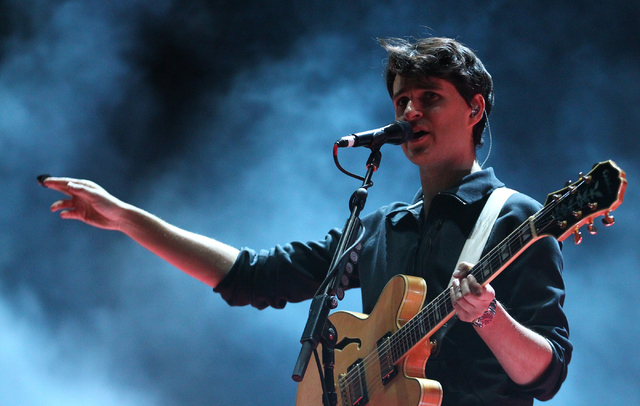 Ezra Koenig of Vampire Weekend performs during the Life is Beautiful festival in downtown Las Vegas on Sunday, Oct. 27, 2013. (Chase Stevens/Las Vegas Review-Journal)