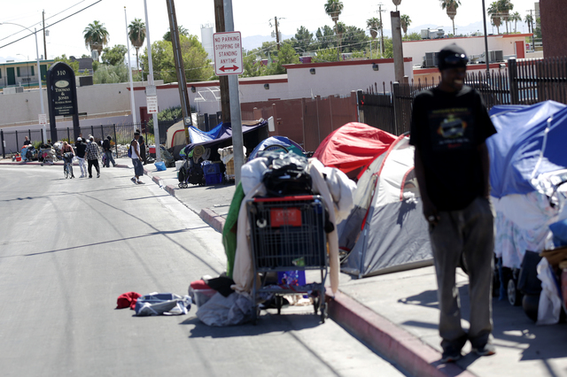 Foremaster Lane, a common congregation place for the homeless, is seen on Monday, Sept. 19, 2016, in Las Vegas. (Rachel Aston/Las Vegas Review-Journal) Follow @rookie__rae
