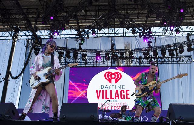 JinJoo Lee and Cole Whittle of DNCE perform at iHeartRadio's Daytime Village music festival is seen at the MGM Resorts Village festival site in Las Vegas, Saturday, Sept. 24, 2016. (Miranda Alam/L ...