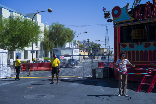 The intersection of Ogden Avenue and 8th Street is shown at the Life is Beautiful music and arts festival in downtown Las Vegas on Friday, Sept. 23, 2016. Chase Stevens/Las Vegas Review-Journal Fo ...