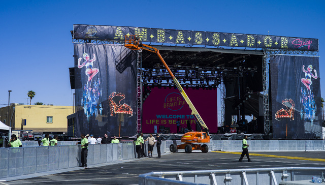 The Ambassador stage is shown before the start of the Life is Beautiful music and arts festival in downtown Las Vegas on Friday, Sept. 23, 2016. Chase Stevens/Las Vegas Review-Journal Follow @csst ...