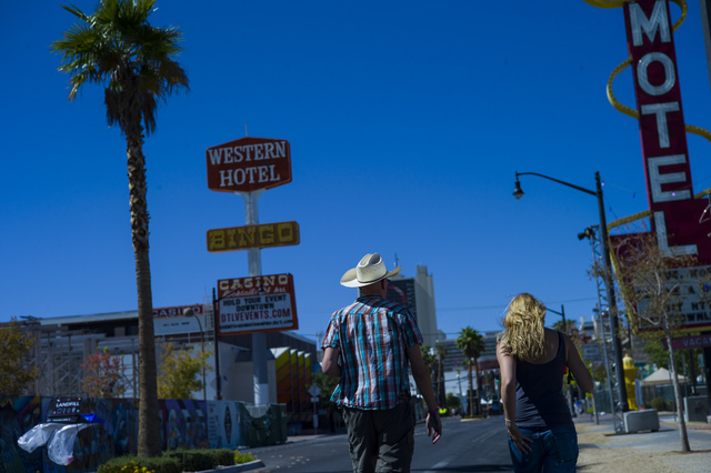 People explore the festival grounds before the start of the Life is Beautiful music and arts festival in downtown Las Vegas on Friday, Sept. 23, 2016. Chase Stevens/Las Vegas Review-Journal Follow ...