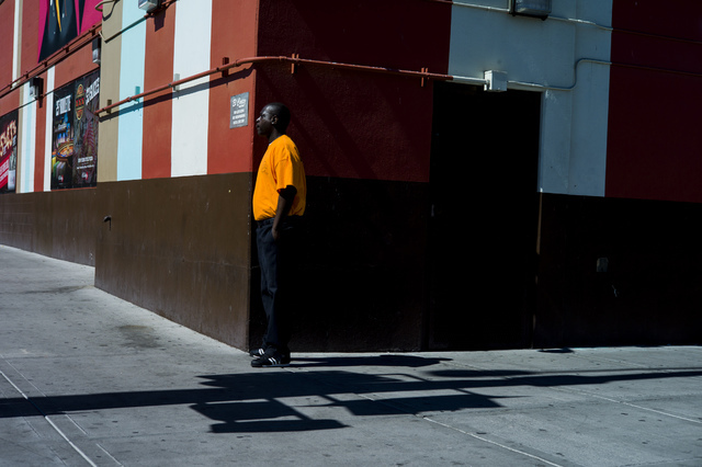 A security guard stands outside of the El Cortez parking garage during the Life is Beautiful music and arts festival in downtown Las Vegas on Friday, Sept. 23, 2016. Chase Stevens/Las Vegas Review ...