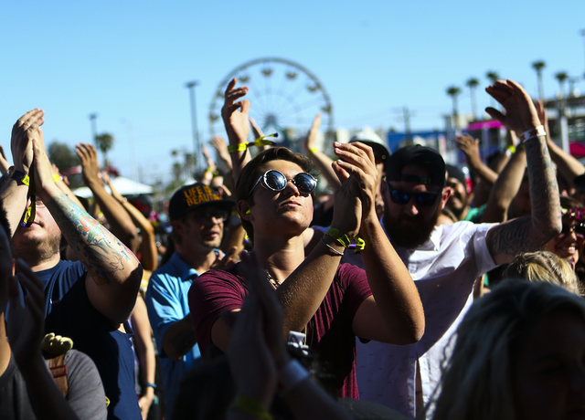 Fans cheer as Highly Suspect performs during the Life is Beautiful music and arts festival in downtown Las Vegas on Friday, Sept. 23, 2016. Chase Stevens/Las Vegas Review-Journal Follow @csstevens ...