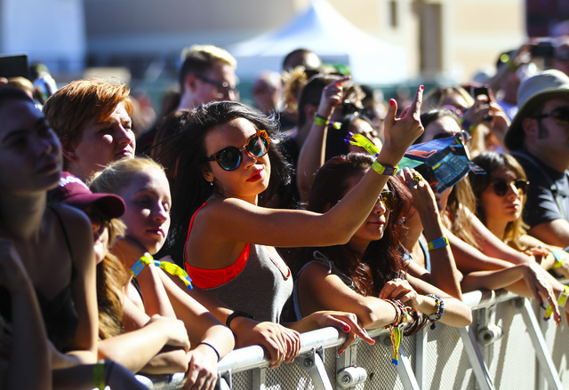 Attendees dance as Highly Suspect performs during the Life is Beautiful music and arts festival in downtown Las Vegas on Friday, Sept. 23, 2016. Chase Stevens/Las Vegas Review-Journal Follow @csst ...
