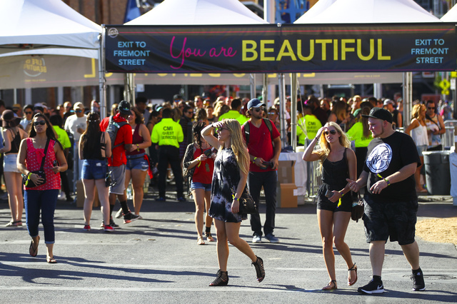 Attendees enter the festival grounds during the Life is Beautiful music and arts festival in downtown Las Vegas on Friday, Sept. 23, 2016. Chase Stevens/Las Vegas Review-Journal Follow @csstevensphoto