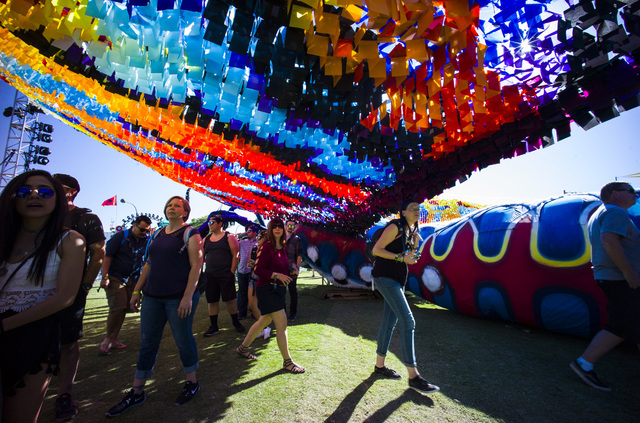Attendees roam the festival grounds during the Life is Beautiful music and arts festival in downtown Las Vegas on Friday, Sept. 23, 2016. Chase Stevens/Las Vegas Review-Journal Follow @csstevensphoto