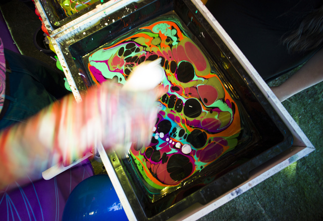 """Attendees wait try out """"hydro dipping"""" during the Life is Beautiful music and arts festival in downtown Las Vegas on Friday, Sept. 23, 2016. Chase Stevens/Las Vegas Review-Journa ..."""