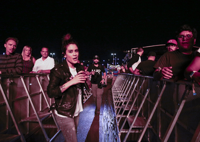 Sara Quin of Tegan and Sara walks by the crowd during the Life is Beautiful music and arts festival in downtown Las Vegas on Friday, Sept. 23, 2016. Chase Stevens/Las Vegas Review-Journal Follow @ ...