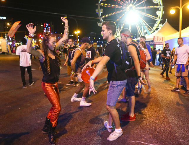 Attendees dance during the Life is Beautiful music and arts festival in downtown Las Vegas on Friday, Sept. 23, 2016. Chase Stevens/Las Vegas Review-Journal Follow @csstevensphoto