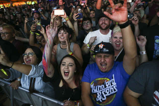 Fans cheer as Mumford & Sons perform during the Life is Beautiful music and arts festival in downtown Las Vegas on Friday, Sept. 23, 2016. Chase Stevens/Las Vegas Review-Journal Follow @csstev ...