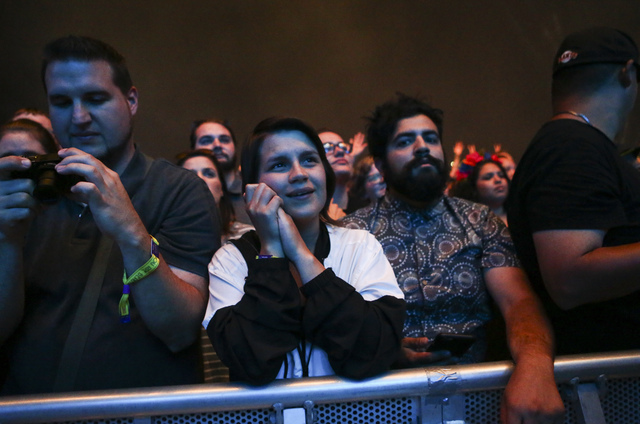 Fans watch as Mumford & Sons perform during the Life is Beautiful music and arts festival in downtown Las Vegas on Friday, Sept. 23, 2016. Chase Stevens/Las Vegas Review-Journal Follow @csstev ...