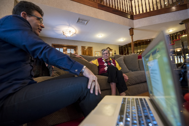 Jerry Lewis, right,  is interviewed in his Las Vegas home by John Katsilometes on Friday, Sept. 9, 2016. Joshua Dahl/Las Vegas Review-Journal