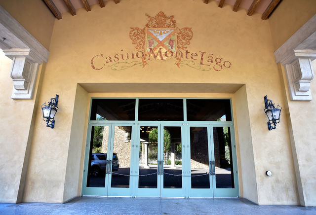 The front doors of the closed Casino Monte Lago at Lake Las Vegas is seen secured with a chain Friday, Sept. 2, 2016, in Henderson. David Becker/Las Vegas Review-Journal Follow @davidjaybecker
