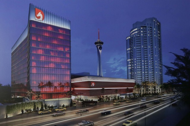 Artist's rendering of the under-construction Lucky Dragon hotel-casino at 300 W. Sahara Ave. (Bizuayehu Tesfaye/Las Vegas Review-Journal Follow @bizutesfaye)