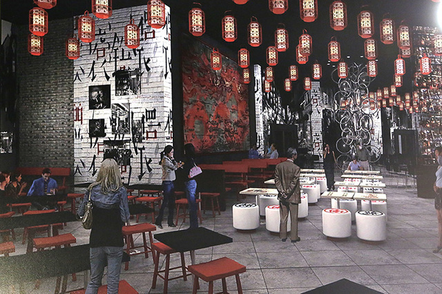 Artist's rendering of a restaurant inside the under-construction Lucky Dragon hotel-casino is displayed during the hard hat tour on Thursday, July 7, 20176. (Bizuayehu Tesfaye/Las Vegas Review-Jou ...