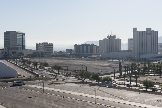 The empty lot at South Grand Central Parkway and West Symphony Park Avenue in Las Vegas, shown on Saturday, June 20, 2015, is one of the sites proposed for an art museum.  (Jason Ogulnik/Las Vegas ...