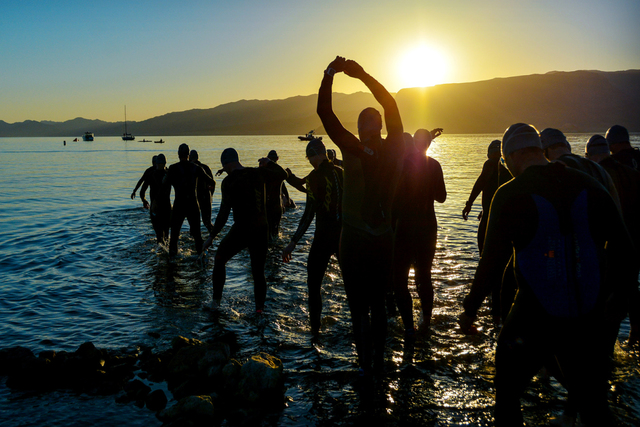 Participants prepare for the swim at the Lake Mead National Recreation Area as part of the Las Vegas Triathlon last year. (LVACtionImages.com)