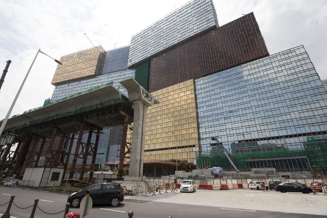 Construction for a light rail system in front of the MGM Cotai construction development on Tuesday, Sept. 13, 2016, in Macau. (Erik Verduzco/Las Vegas Review-Journal Follow @Erik_Verduzco)