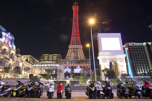The half-scale Eiffel Tower at the Parisian Macau hotel-casino in Macau is seen on Saturday, Sept. 10, 2016. The Parisian resort opened Tuesday. (Erik Verduzco/Las Vegas Review-Journal) Follow @Er ...