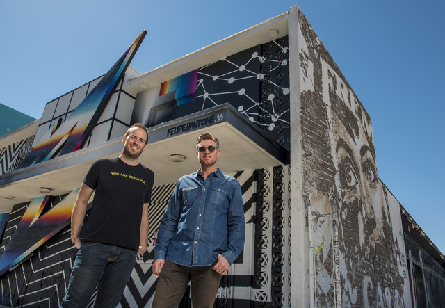 Justin Weniger, left, and Ryan Doherty, the organizers of Life is Beautiful, pose for a photo in front of the Pantone mural in downtown Las Vegas on Wednesday, Sept. 14, 2016. Joshua Dahl/Las Vega ...