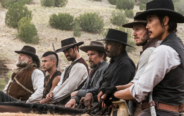 (l to r) Vincent D'Onofrio, Martin Sensmeier, Manuel Garcia-Rulfo, Ethan Hawke, Denzel Washington, Chris Pratt and Byung-hun Lee star in Metro-Goldwyn-Mayer Pictures and Columbia Pictures' THE MAG ...