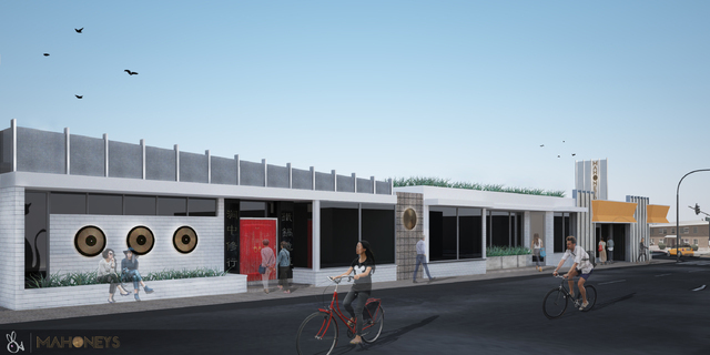A rendering of the Mahoney's building on Maryland Parkway shows restaurateur Cory Harwell's new Asian-themed restaurant. (Courtesy J Dapper)