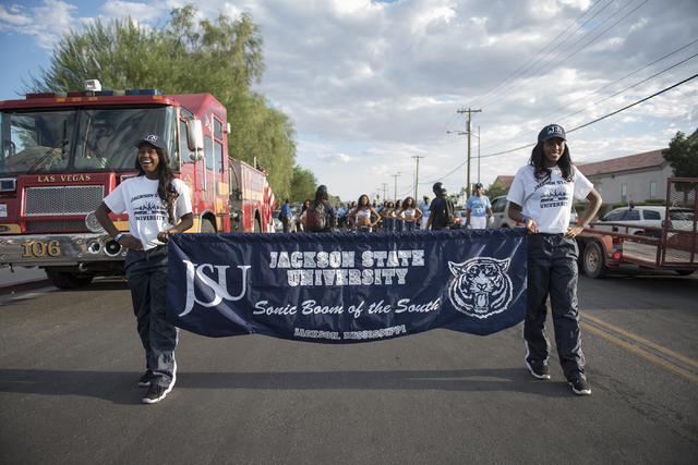 Jackson State University's Sonic Boom of the South marching band perform at the Pearson Community Center in North Las Vegas on Wednesday, Aug. 31, 2016. (Martin S. Fuentes/Las Vegas Review-Journal)