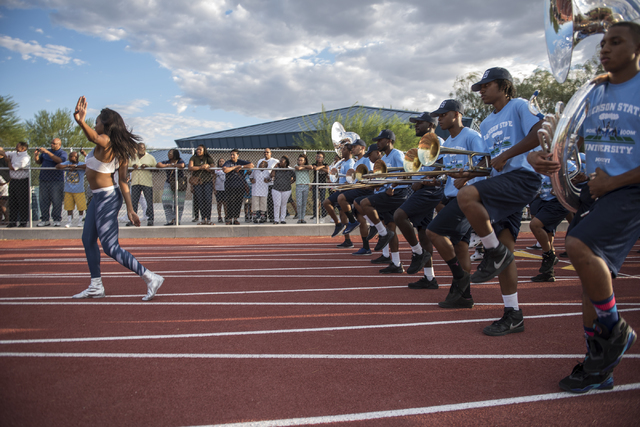 Jackson State University's Sonic Boom of the South marching band perform at the Pearson Community Center in North Las Vegas on Wednesday, Aug. 31, 2016.(Martin S. Fuentes/Las Vegas Review-Journal)