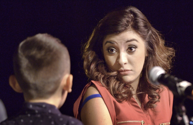 "Diego Espinoza-Morfin, left, and Monica Ramirez perform during a staged reading of ""Mas Americanos"" at the Winchester Cultural Center in Las Vegas on Saturday, Sept. 10, 2016. (Bill Hughes/Las ..."