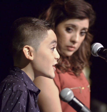 "Diego Espinoza-Morfin, left, and Monica Ramirez perform during a staged reading of ""Mas Americanos"" at the Winchester Cultural Center in Las Vegas on Saturday, Sept. 10, 2016. (Bill Hughes/Las Veg ..."