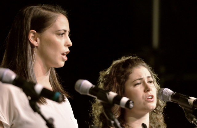 "Anna Allred, left, and Alison Yañez perform during a staged reading of ""Mas Americanos"" at the Winchester Cultural Center in Las Vegas on Saturday, Sept. 10, 2016. (Bill Hughes/Las Vegas Revi ..."