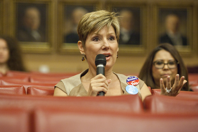 Bea Aikens asks a question to Dr. Mel Pohl at the Mayor's Faith Initiative Addiction and Recovery group on Thursday, Sept. 8, 2016,  at Las Vegas City Hall. Loren Townsley/Las Vegas Review-Journal ...