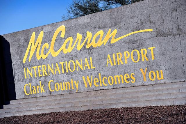 McCarran International Airport sign is seen on Tuesday, Nov. 25, 2014, in Las Vegas. (David Becker/Las Vegas Review-Journal)