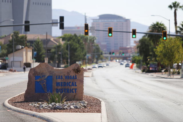 A sign advertising the Las Vegas Medical District sits in a median on Alta Drive in Las Vegas on Friday, Sept. 2, 2016. (Brett Le Blanc/Las Vegas Review-Journal) Follow @bleblancphoto