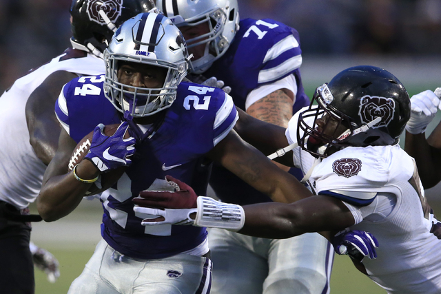 Kansas State running back Charles Jones (24) during the first half of an NCAA college football game against Missouri State in Manhattan, Kan., Saturday, Sept. 24, 2016. (AP Photo/Orlin Wagner)