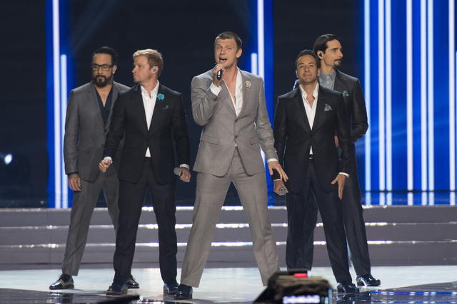 The Backstreet Boys perform during the Miss USA pageant at T-Mobile Arena in Las Vegas, Sunday, June 5, 2016.(Jason Ogulnik/Las Vegas Review-Journal)
