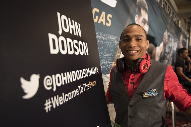 """UFC flyweight John """"The Magician"""" Dodson poses for a photo during media day before competing at UFC 187 from the MGM Grand hotel-casino in Las Vegas on Thursday, May 21, 2015. (Martin S. Fuentes/L ..."""