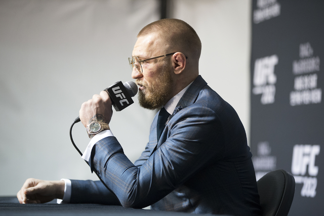 Conor McGregor speaks during the UFC 202 post-fight press conference at T-Mobile Arena on Saturday, Aug. 20, 2016, in Las Vegas. (Erik Verduzco/Las Vegas Review-Journal) Follow @Erik_Verduzco