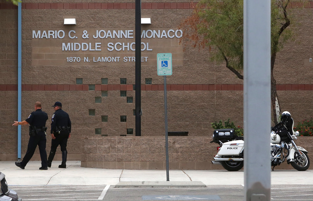 Mario C. and Joanne Monaco Middle School is shown Tuesday, Sept. 20, 2016, in Las Vegas. Teachers broke up a fight between students at the school.(Bizuayehu Tesfaye/Las Vegas Review-Journal Follow ...