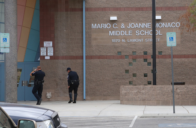 Mario C. and Joanne Monaco Middle School is shown Tuesday, Sept. 20, 2016, in Las Vegas. Teachers broke up a fight between students at the school. (Bizuayehu Tesfaye/Las Vegas Review-Journal Follo ...