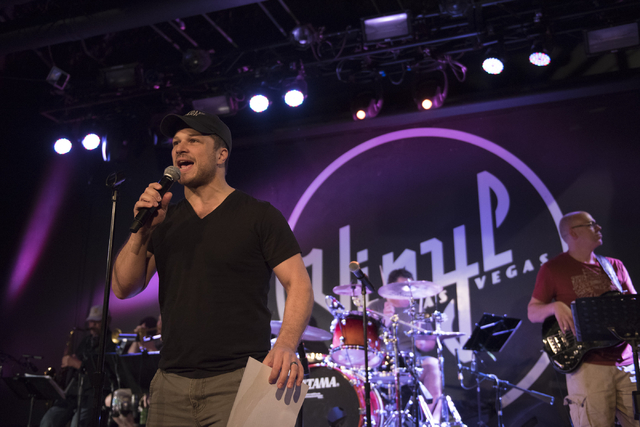 """Mark Shunock, left, rehearses for this month's """"Mondays Dark"""" at Vinyl at the Hard Rock Hotel in Las Vegas Monday, June 20, 2016. This month's show raised money for Habitat for Humanity Las Vegas. ..."""