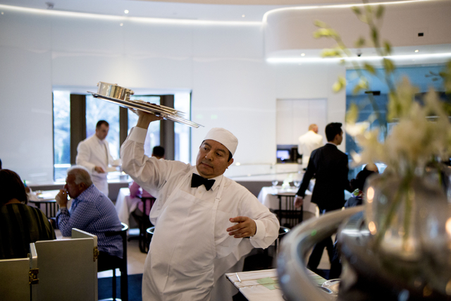 Food is brought from the kitchen at Mr. Chow at Caesars Palace in Las Vegas, Saturday, Sept. 17, 2016. (Elizabeth Page Brumley/Las Vegas Review-Journal Follow @elipagephoto)
