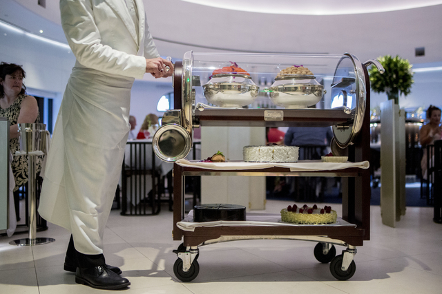 A dessert trolley is pushed by a server at Mr. Chow at Caesars Palace in Las Vegas, Saturday, Sept. 17, 2016. (Elizabeth Page Brumley/Las Vegas Review-Journal Follow @elipagephoto)