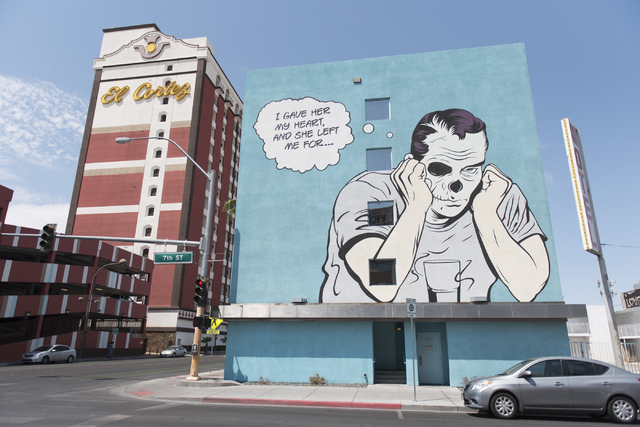 D*Face's mural painted for the 2013 Life is Beautiful festival located on 7th Street and Ogden Avenue in Las Vegas is seen Saturday, Aug. 27, 2016. Jason Ogulnik/Las Vegas Review-Journal