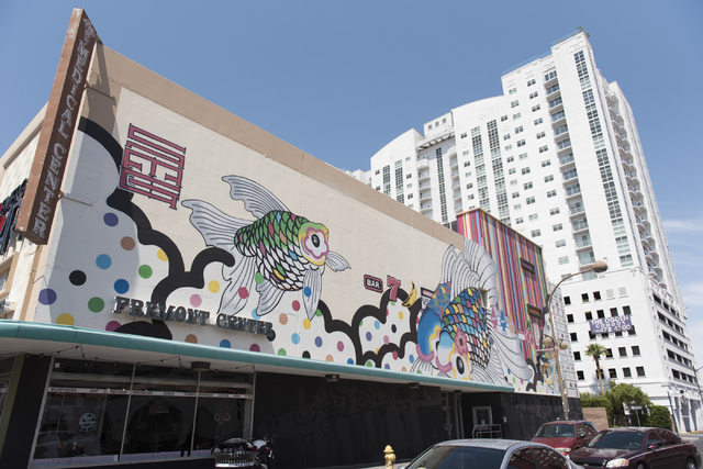 Tim Bavington and Sush Machida's mural painted for the 2014 Life is Beautiful festival located on 6th Street and Fremont Street in Las Vegas is seen Saturday, Aug. 27, 2016. Jason Ogulnik/Las Vega ...