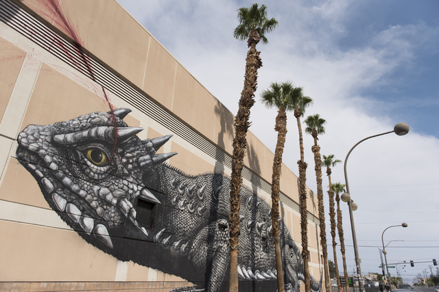 ROA's mural painted for the 2014 Life is Beautiful festival located on Stewart Avenue at 7th Street in Las Vegas is seen Saturday, Aug. 27, 2016. Jason Ogulnik/Las Vegas Review-Journal