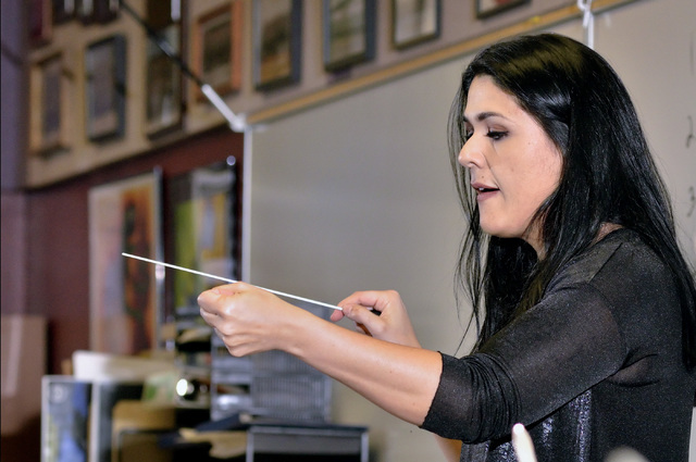 Music director Alexandra Arrieche rehearses members of the Henderson Symphony Orchestra in preparation for the ensemble's